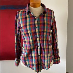 Madewell rainbow checkered button down